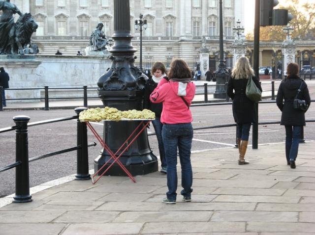 © Renate Egger and Wilhelm Roseneder. Goldene Erweiterung/Golden expansion. Street art project. Buckingham Palace. London, UK  2010